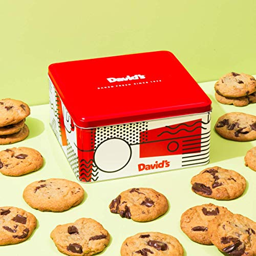 David's Cookies -24 Fresh Baked Chocolate Chunk Cookies Gourmet Gift Basket - Christmas, Holiday & Corporate Food Tin - Idea For Men & Women - Certified Kosher - 2 lb