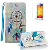 For Samsung Galaxy J3 2017 Case [with Free Screen Protector].Funyye Elegant Premium Folio PU Leather Wallet Magnetic Flip Cover with [Wrist Strap] and [Colorful Printing Painting] Stand Function Book Type Stylish Full Protection Holster Case Cover for Samsung Galaxy J3 2017-Dreamcatcher