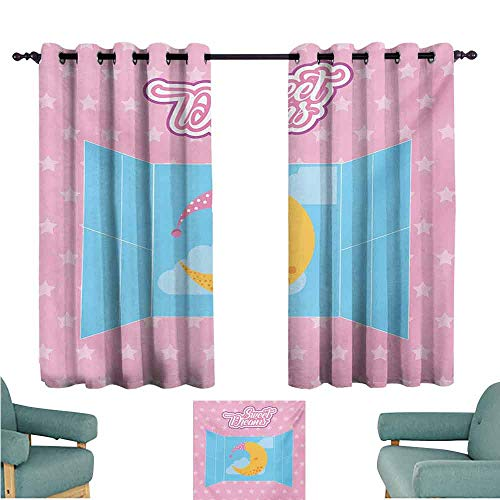 DONEECKL Bedroom Curtains 2 Panel Sweet Dreams Pink Starry Backdrop with Open Window and Sleeping Moon in Sky Light Blocking Drapes with Liner W55 xL72 Pink Yellow and Pale Blue ()