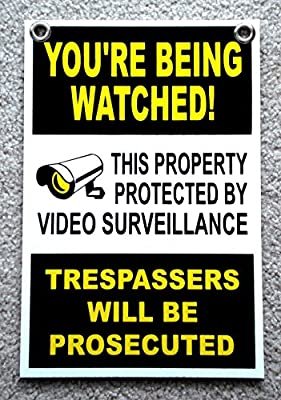 """1Pc Superlative Popular You're Being Watched Yard Signs Anti-Thief Lawn Declare Coroplast Size 8"""" x 12"""" with Grommets"""