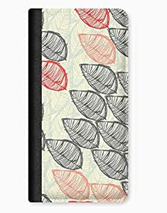 Drawn Leaves Winter Design iPhone 5c Leather Flip Case