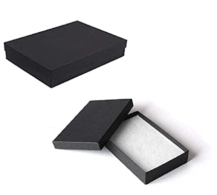 Amazon Com Rj Displays 25 Matte Black Cotton Boxes Necklace Jewelry