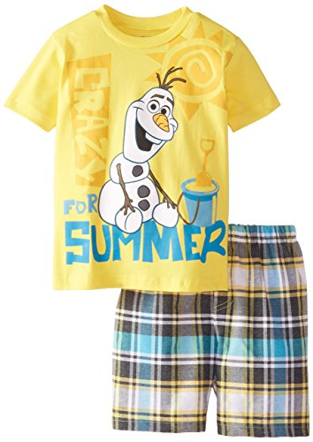 Disney Little Boys' Olaf Toddler Tee and Woven Plaid Short Set, Yellow, 2T