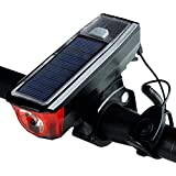 Dixinla Bike Front Bicycle Back Light Bicycle lamp Front Light solar USB charging mountain Bike Night ride strong light bell with electronic horn front light 11 * 4 * 3cm