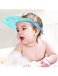 BABY MATE 2PCS LEAK PROOF Baby Bath Visor (ORANGE & BLUE, Adjustable Breakaway Buckles) - Baby Hair Washing Shield - Shampoo Eye Protector For Kids - Baby Bathing Cap - Bathroom Safety Baby Shower Hat BOBEBE Online Baby Store From New York to Miami and Los Angeles