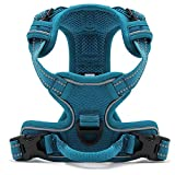 Kaka mall Pet Dog Cats Vest harness No Pull 3M Reflective Breathable Padded Mesh Adjustable Double Zinc-alloy D-ring for Outdoor Adventure (Blue, M)