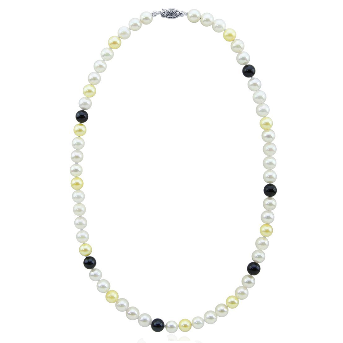 14K White Gold High Luster Multi Color AAA Quality Akoya Cultured Pearl Necklace 18 Inches- Style 1 by Akwaya
