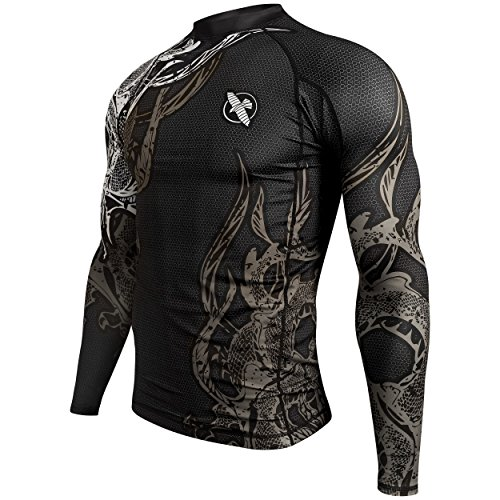 Hayabusa Mizuchi 2.0 Long Sleeve BJJ Rash Guards, Black, Lar
