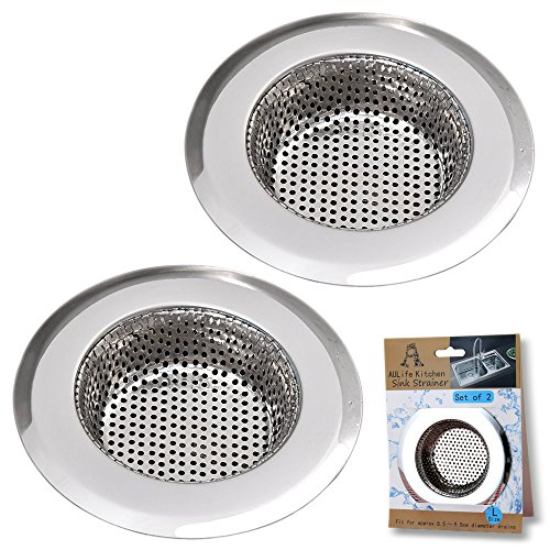 Stainless Steel Kitchen Sink Strainer by AULife - Large Wide (Old Master Flat)