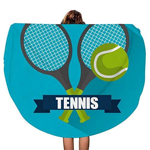 SARA NELL Tennis Cross Racket Ball Banner Emblem Thick Round Beach Towel Blanket Throw Mandala Microfiber Bohemian Circle Style Oversized Extra Large 60 Inch Yoga Mat Table ()