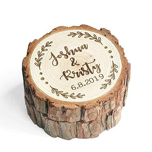 LOVEhandmade Custom Wood Wedding Ring Box Wedding Ring Bearer Personalized Rustic Wedding Ring Box Engraved Ring Holder Wedding Box