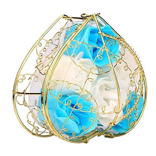Yu2d  Random Heart Scented Bath Body Petal Rose Flower Soap Wedding Decoration (Blue) -