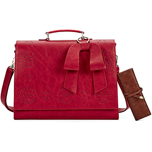 SOSATCHEL Women Leather Messenger Laptop Shoulder Bag Briefcase Satchel Purse Handbag Fit 15.6 inch Notebook, (Red Womens Messenger Bag)