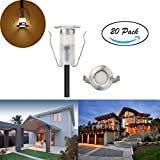FVTLED Low Voltage LED Deck Light Kit Super Mini Stainless Steel Waterproof IP67 Recessed Wood Decking Yard Garden Patio Stairs Landscape (20pcs, Warm White)