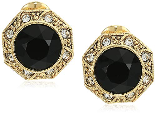 1928 Jewelry Women's Gold Tone Black Faceted Crystal Round Button Clip Earrings, Black, One Size