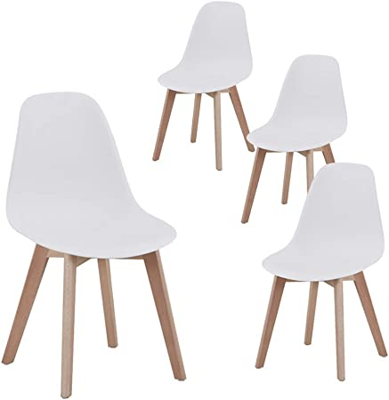 Set di 4//6 Sedie,Sedie da Pranzo Sedia da Ufficio Design Nordico Sedia in Stile retr/ò Bianco-4