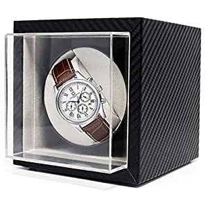 Jolitac Automatic Single Watch Winder in Black Leather with Quiet Japanese Motor, Adjustable Watch Pillows, Fit Lady and Man Automatic Watch