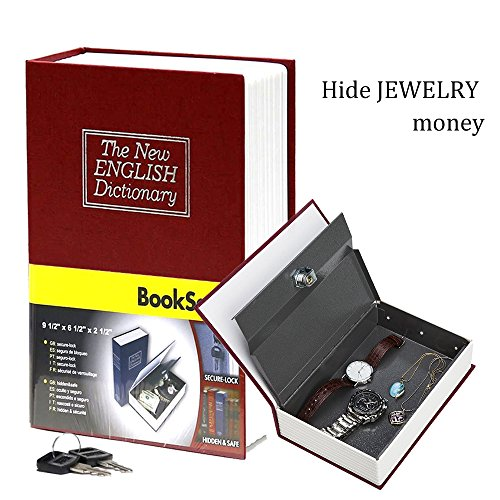 HENGSHENG Dictionary Secret Book of metals Hidden Safe With Key Lock Book Safe - Red Small