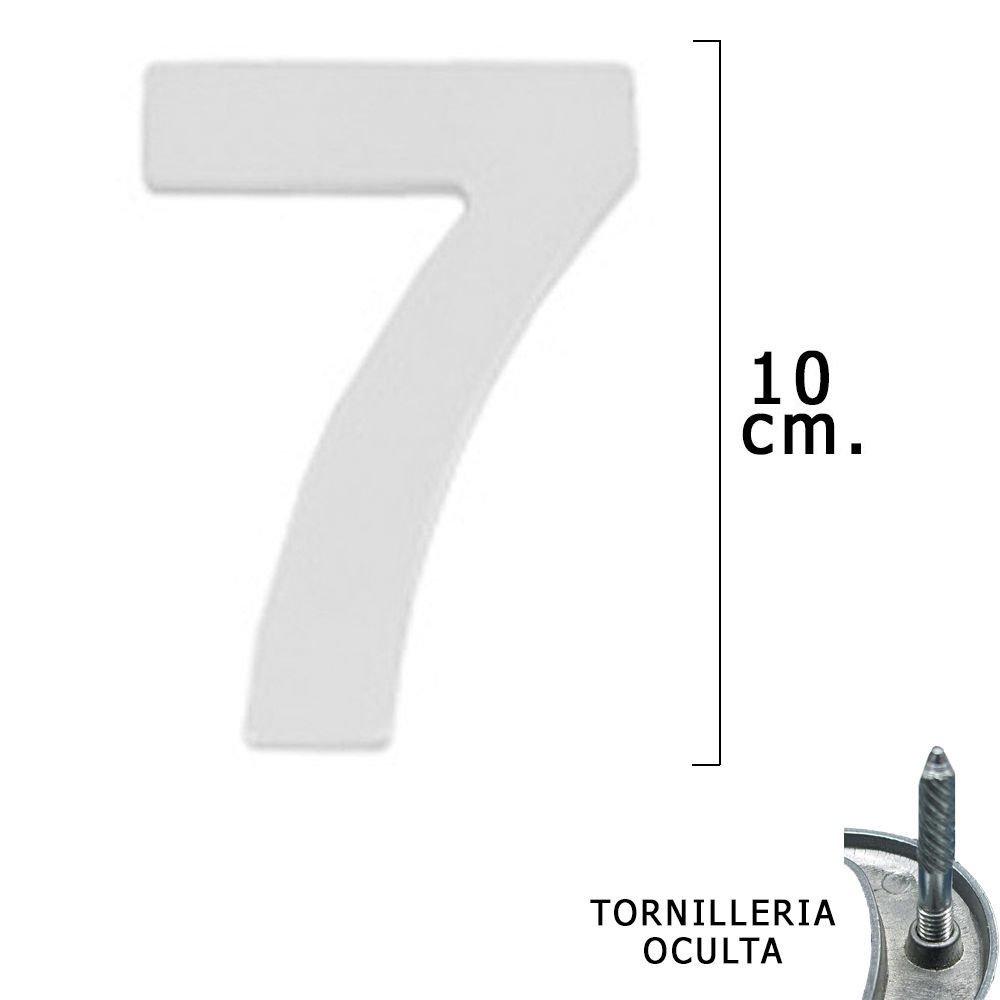 Blister 1 Pieza WOLFPACK 5320017 Numero Metal 7 Plateado Mate 10 cm con Tornilleria Oculta