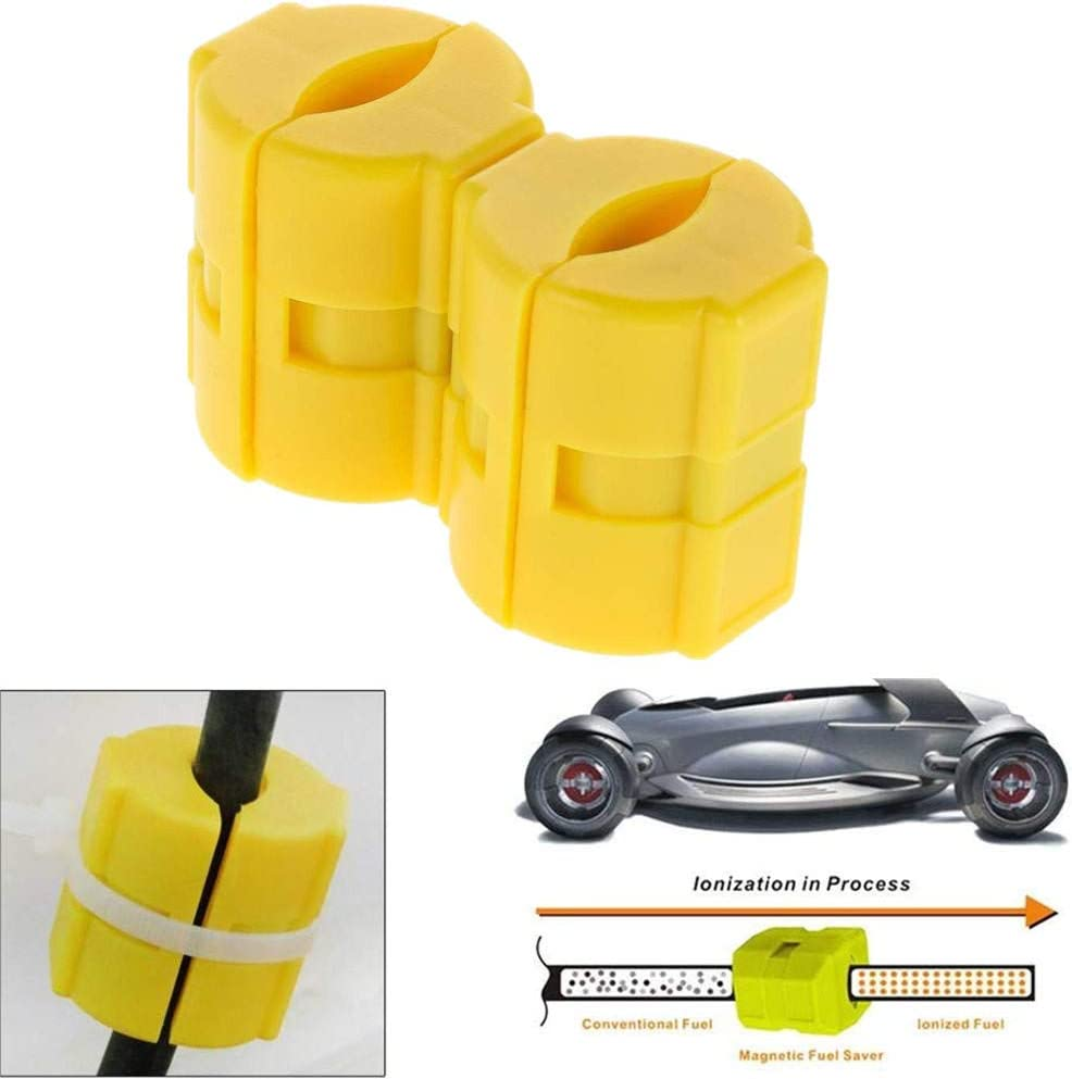 2Pcs Magnetic Fuel Saver for Vehicle Gas Universal Reduce Emission Yellow