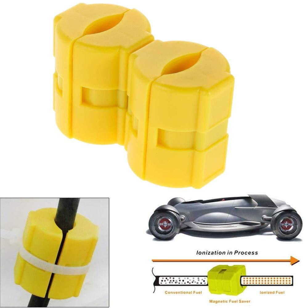 Glumes Magnetic Fuel Saver Car Power Saver Vehicle Magnetic Fuel Saving Economizer Fuel Saver Reduce Emission For Car Vehicles Trucks 2 Pcs (yellow)
