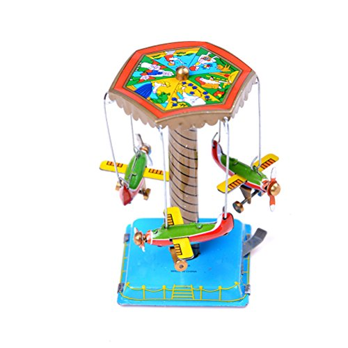 FidgetGear Vintage Wind Up Toys Gift Fairground Carousel Airplane Planes Mechanical Tin Gm from FidgetGear