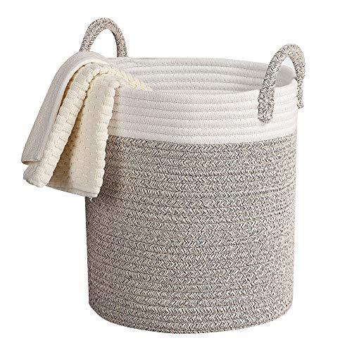 Storage Baskets Woven Basket, 13''x 15'' Cotton Rope Decorative Baskets for Towel, Laundry, Magzine, Gift Basket by LA JOLIE MUSE