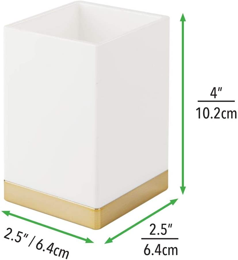 Blanc//Laiton Support Brosse /à dent antirouille gobelet Salle de Bain pour Brosse mDesign Porte Brosse /à dent d/éco en Plastique sans BPA rasoirs ou cosm/étiques