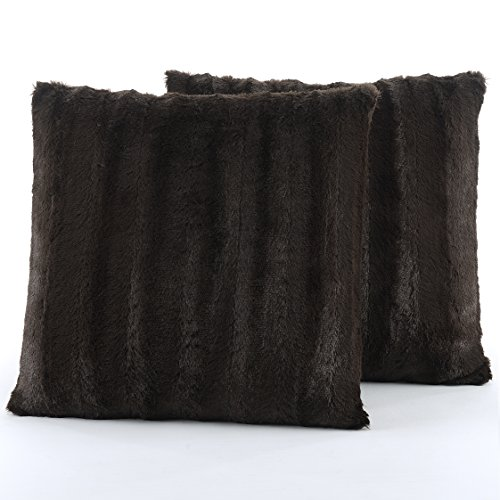 Chocolate Throw Pillow (Cheer Collection Set of 2 Decorative Throw Pillows - Reversible Faux Fur to Microplush Accent Pillows by 18