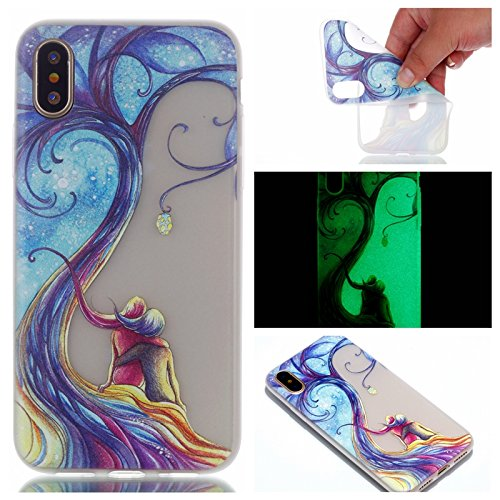 Flower Luminous Glow In the Dark Soft TPU Case For Iphone X Eiffel Tower Lace Skull Ultra thin Dog Clear Skin Cover (Lovely (Skull Tower)