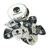 BA Music Premium Pearl Celluloid Skull Guitar Picks 20 Pack (10 black & 10 white) (Thin 0.46mm)