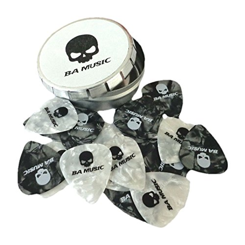 BA Music Premium Pearl Celluloid Skull Guitar Picks 20 Pack (10 black & 10 white) (Medium 0.71mm)