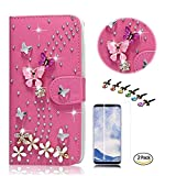 STENES Galaxy S9 Case - Stylish - 3D Handmade Bling Crystal S-Link Butterfly Floral Design Wallet Credit Card Slots Fold Media Stand Leather Cover Case with Screen Protector - Hot Red