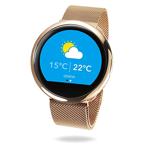 MyKronoz ZeRound2 HR Elite Smartwatch with Heart Rate Monitoring and Smart Notifications, Swiss Design, iOS and Android - Shiny Pink Gold / Milanese Pink Gold by MyKronoz (Image #5)