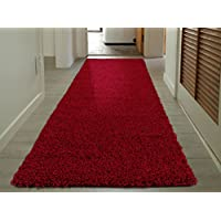 Cozy Shag Collection Red Solid Shag Rug (27X80) Contemporary Living and Bedroom Soft Shaggy Runner Rug