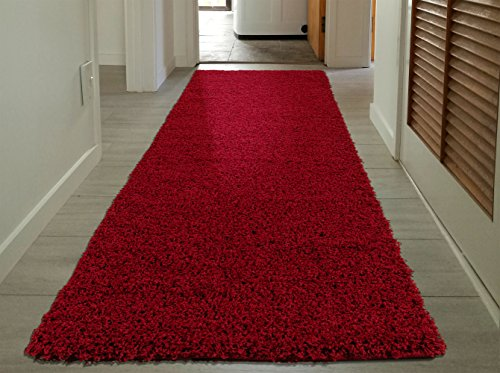 Sweet Home Stores Cozy Shag Collection Red Solid Shag Rug (2'7 X8'0) Contemporary Living and Bedroom Soft Shaggy Runner Rug by Sweet Home Stores