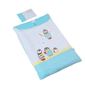 JSIHENA Pies Invierno Saco Dormir El Saco de Dormir para bebés Anti-Patada Infantil es algodón de algodón Engrosado en otoño e Invierno,Blue: Amazon.es: ...