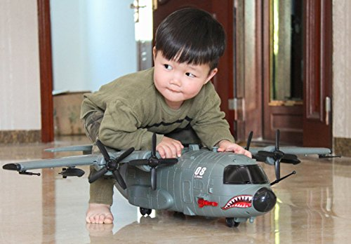 C-130 Large Simulation Air Transport Aircraft Package with Transport Vehicle Combatant with Music Lights Manual Glide Fighter Transport Aircraft Model