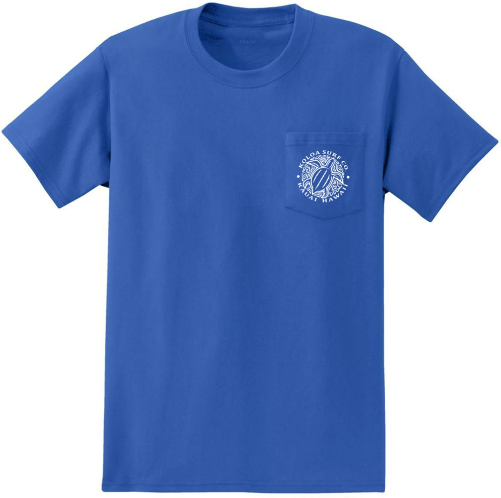 Joe's USA Koloa Surf Pocket Tee Honu Turtle Logo Heavyweight Cotton T-Shirt-Royal/w-XL
