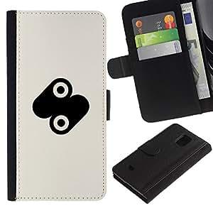 Paccase / Billetera de Cuero Caso del tirón Titular de la tarjeta Carcasa Funda para - circle dot mark - Samsung Galaxy S5 Mini, SM-G800, NOT S5 REGULAR!