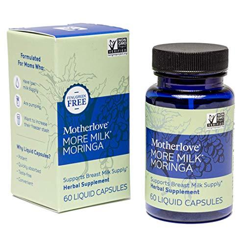 Motherlove More Milk Moringa (60 caps) Fenugreek-Free Herbal Galactagogue Breastfeeding Supplement to Support Nursing & Pumping Moms' Milk Supply