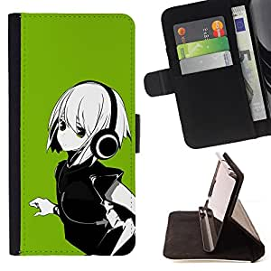For HTC One Mini 2/ M8 MINI Green Anime Girl Style PU Leather Case Wallet Flip Stand Flap Closure Cover