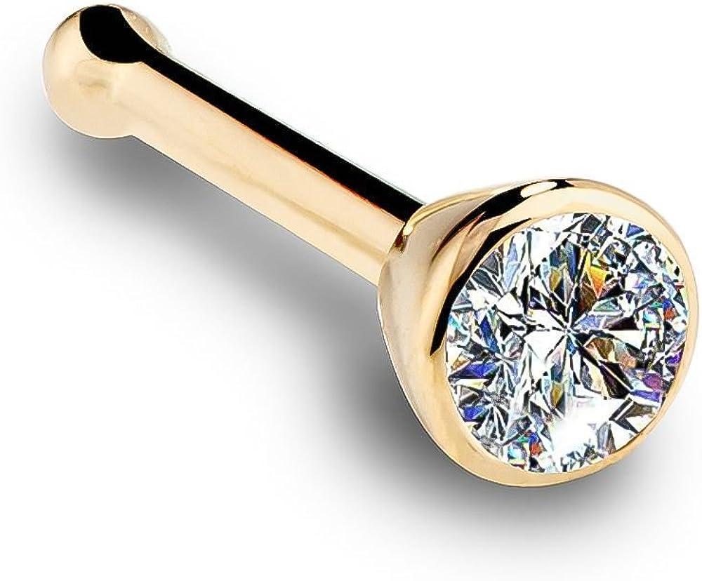 FreshTrends 14K Yellow Gold Diamond Nose Ring with Flush Bezel Setting - 18 Gauge, I1