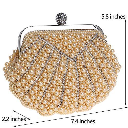 Sac Porte-monnaie Dames Sacs À Main Des Femmes De Robe Sacs De Soirée Épaule De La Chaîne D'embrayage Perles Élégantes De Mariage D'or D'or