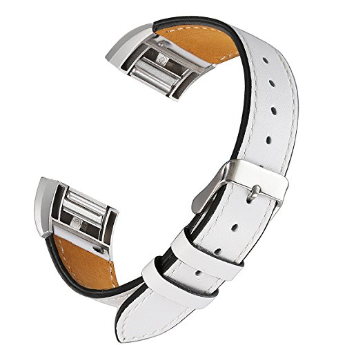 bayite Leather Bands Compatible Fitbit Charge 2, Replacement Accessories Straps Women Men, White