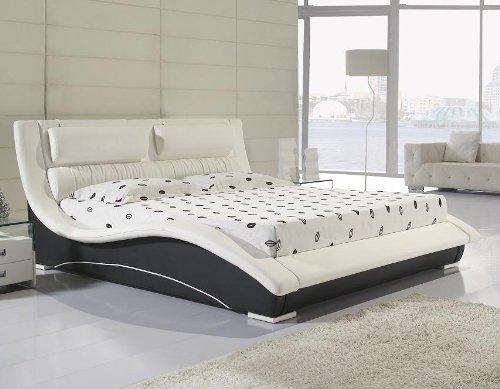 i flair lit best design en cuir nouveau avec sommier lattes 160x200 blanc noir n0wb amazonfr cuisine maison - Lit 160x200 Avec Sommier