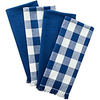 Delicieux ... Towels With Decorative Fringe, Absorbent Dishtowels For Drying And  Cleaning Kitchen Dishes Or Countertops (18x28, Assorted Set Of 4) Navy Blue  Checker