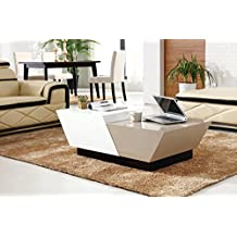AZ Tables Modern Coffee Table High Gloss Multi Color White + Beige Grey Top and Black Base, Flip Sliding Open and Close Adjustable Hidden Storage Compartment Center Table Extendable Expandable Contemporary Living Room Furniture