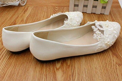 blanco zapatos novias Talones el perla plana JINGXINSTORE bajo tal encaje boda de nupcial qwtFAxX