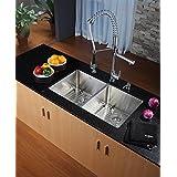 Kraus KHU102-33-KPF1602-KSD30CH 33 inch Undermount Double Bowl Stainless Steel Kitchen Sink with Chrome Kitchen...